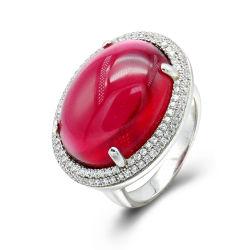 Les anneaux de Mode couleur argentée S925 Sterling Silver luxueux pour les femmes