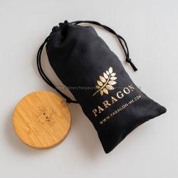 Ouro personalizado hot stamping Cordão de veludo de microfibras bolsa cosmética Bolsa jóias de camurça