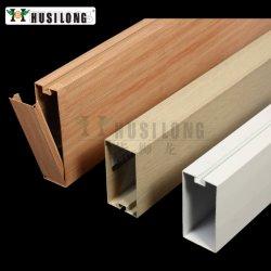 나무 그레인 컬러 알루미늄 배플 스트립 천장 매달린 False Metal 천장 U자형 배플