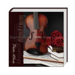 Álbum de fotografias com tampa de papel impresso e folhas de auto-adesivos personalizados