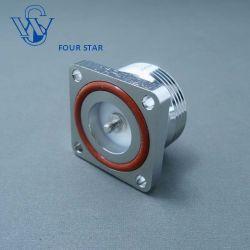 RF 同軸メスジャック、 32 mm スクエアフランジ取り付け 7/16 DIN M * 3 ねじピン付きコネクター