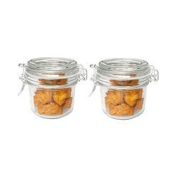 Verre de petite taille Spice Jar Ss hermétique Clip et les couvercles de verre, forme ronde