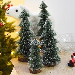 Agujas de pino de la torre de la nieve Mini pequeño escritorio decorado de forma de árbol de Navidad