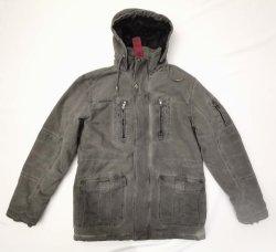Aceite de Invierno de hombre teñido/ sucio vestido teñido de algodón teñido algodón Chaqueta capucha abrigo