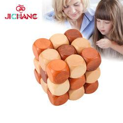 I puzzle di legno del cubo dei rompicapi del cervello 3D che collegano il puzzle imbarazza (GY-W0024)