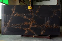 Das Eis Veined Marmor-Schauen färbt 3200*1800mm Calacatta weiß/Schwarzem/grauer künstlicher/ausgeführter Quarz-Stein-Fabrik/Hersteller-Sand gesprengter Oberflächenfliese