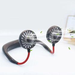 Cuello portátil USB Ventilador Ventilador de LED recargable Diseño auriculares manos libres portátil personal con doble Enfriador de viento de la oficina exterior