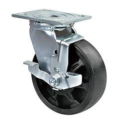 Heavy Duty de 5 pulgadas de la rueda giratoria de ruedas de alta temperatura con freno de bloqueo del lado de Castor