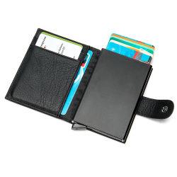 Monedero de cuero negro de aluminio de bloqueo de RFID Pop up automático de la titular de la tarjeta de crédito
