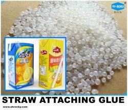 De hete Kleefstof van de Smelting voor het Plakken van Plastic Stro met de Doos van de Drank