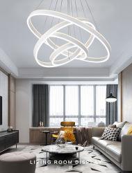 Cuisine de plafond suspendu dernière conception ovale artistique créatrice Cercle lustre acrylique bague LED Lampe Home Decor Lampara Colgante