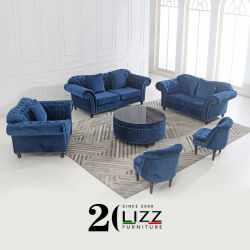مجموعة فاخرة من الأثاث المنزلي المخملية الفاخر مع طاولة قهوة أريكة زرقاء حديثة مع زر موهوب