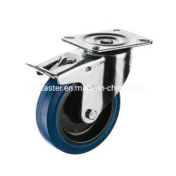 Roda de avanço industrial de borracha elástica azul de 80 mm