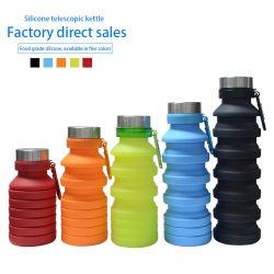 Hersteller umweltfreundliches BPA geben zusammenklappbare Silikon-Getränk-Sport-Wasser-Flaschen frei