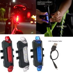 Bicicletta luce posteriore a LED bicicletta Faro posteriore luce di coda USB ricaricabile Mountain Bike lampada impermeabile luce biciclette accessori