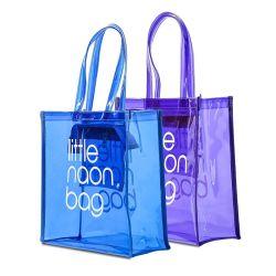 Imballaggio in plastica trasparente personalizzato manici in PVC Borse con logo trasparente Sacchetto in PVC con chiusura per regali