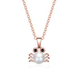 Lindo 925 Joyería de Plata Colgante Collar de perlas de cangrejo elegante dama parte creativa de regalo de joyas de oro rosa de la mujer de la cadena de la Clavícula