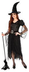 レースのHalloweenの暗闇の魔法使いの服スーツの方法イブニング・ドレスが付いている黒い服