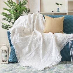 호텔 퓨어 코튼 침구 사무실 소파 니트 커버 담요 Tassel Tapestry for Bed Airplane 여행 인테리어 담요