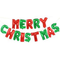 16인치 메리 크리스마스 포일 헬륨 배너 분팅 알파벳 메리 크리스마스 장식 포일 파티 벌룬