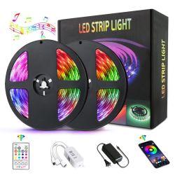 寝室のホーム党のためのLEDの滑走路端燈のBluetoothのコントローラLEDライトを変更するLEDの滑走路端燈RGB LEDライトストリップ音楽RGB LEDストリップ5050 SMDカラー