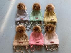 KinderKnitbeanie-Wolle-Winter-Ski-Hut-Schutzkappe mit Earflap POM Hut