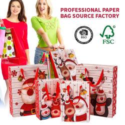BSCI China Atacado Luxo impressão Moda presentes de Natal Embalagem fita Manuseie as malas de compras em papel Tote