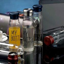 Promozione Gift Food Grade trasparente portatile a doppia parete Sport High Bottiglia d'acqua in vetro borosilicato per infusore