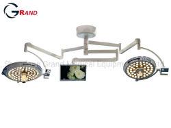 المصنع الصناعي عالي الجودة LED مزدوج الرأس مثبت في السقف بدون ظلال مصباح التشغيل مصباح جراحي مع نظام الكاميرا لجراحة المستشفى غرفة