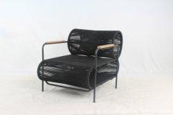 특별한 디자인 로프 방직 의자 티크우드 팔과 야외 가구