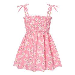 Las niñas bebé Shangyan Sleevess flores impresas lindo vestido de dulce Princesa Suspender