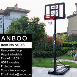 高さのBaksetballのスポーツのためのHDPEのプラスチック製が付いている調節可能で移動可能な携帯用バスケットボールの立場