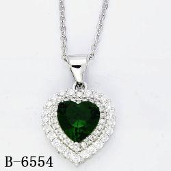 Met de hand gemaakte Fijne Juwelen 925 de Echte Tegenhanger van het Hart van het Zirkoon van het Zilver of van het Messing voor Vrouwen