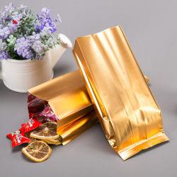 De grado alimentario personalizado Matt Golden el papel de aluminio bolsas de plástico con la muesca para el Té Verde té de Flor seca Embalaje