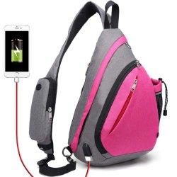 Траверсу мешок, Crossbody рюкзак веревки сумки через плечо водонепроницаемый RFID Rept розового цвета подушки безопасности полотенного транспортера