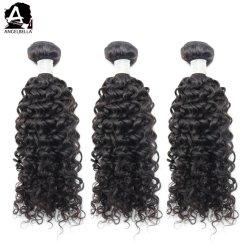 Les faisceaux de cheveux Angelbella prix bon marché naturel noir Jerry Curl Human Remy Hair agitant