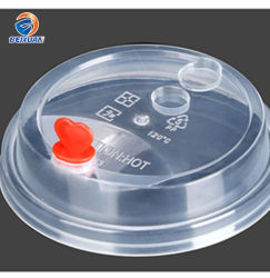 ミルクの茶使い捨て可能なコップのふたのための卸し売り普及した明確なプラスチック帽子