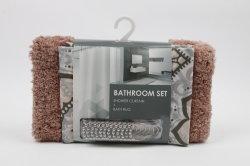 SPA, Hotel Luxury, water afstotende PEVA Douche Gordijn + metalen Hook & Cut Pile Bath Mat