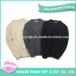 Camisola cinzenta preta branca fresca de confeção de malhas dos homens do velo do Crochet