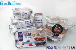 Résistant en aluminium rectangulaire contenant des aliments avec le Conseil le couvercle de la Chine Godfoil fournisseur