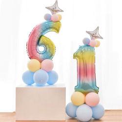 Zahl-Folie Hinauftreiben von Aktienkursen Kind-1. Geburtstagsfeier-Dekoration-Baby-Dusche-Partei-Bevorzugungs-Ballone