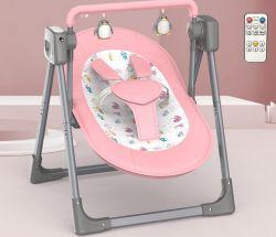 009 تم اهتزاز حامل الطفل الكهربائي الوردي يدويًا، بفضل موسيقى Comfort وBluetooth®