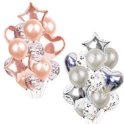 14PCS 로즈 금 헬륨 Ballons 소년 소녀 베비 샤워 당 공급이 다중 Confetti 풍선 축 생일 당에 의하여 팽창한다