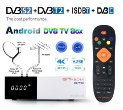 Contenitore superiore stabilito satellite Android di cavo 4K della ricevente DVB-C del sintonizzatore ISDB-T DVB-S2 di Gtmedia Gtc DVB-T2 della casella di Digitahi TV di RAM della casella 2GB di buona qualità TV