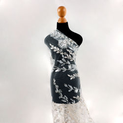 QC059 새로운 Arrival Crystal sequins Lace Fabric 자수 Bead 오프 화이트 네스트 메쉬