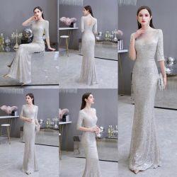 Joyas de lujo de noche vestidos de Prom Cordón CORDÓN DE PLATA CRISTAL vestidos de fiesta vestidos de alfombra roja de celebridades de moda vestido de noche MANGA 3/4