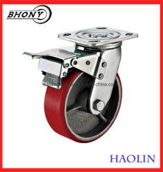 4inch-8pouces Noyau en acier de la plaque de frein de pivotement Red PU Roues roulettes Heavy Duty