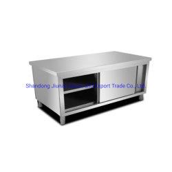 SplashbackのまたはSplashbackのない引き戸のワークテーブルの収納キャビネットはまた使用できる台所使用のステンレス鋼である