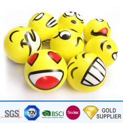 Оптовая торговля дешевые Custom Стороны осуществлять резиновые смешные улыбающееся лицо Emoji Печать логотипа PU стресса Reliever шаровой шар со сдавливаемой трубой
