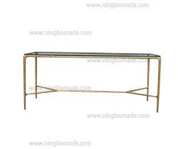 Colección de muebles rústicos repujado a mano forjada de hierro sólido de metal con vidrio templado Grueso color bronce Escritorio